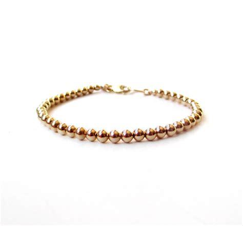 Bracelet 14k Gold Filled Bead Bracelet 4mm