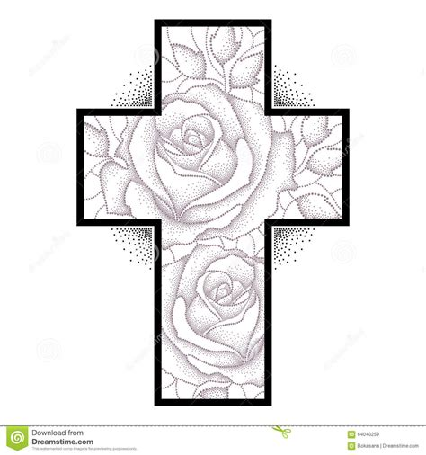 tattoo latin cross latin cross with dotted rose flower and leaves on white