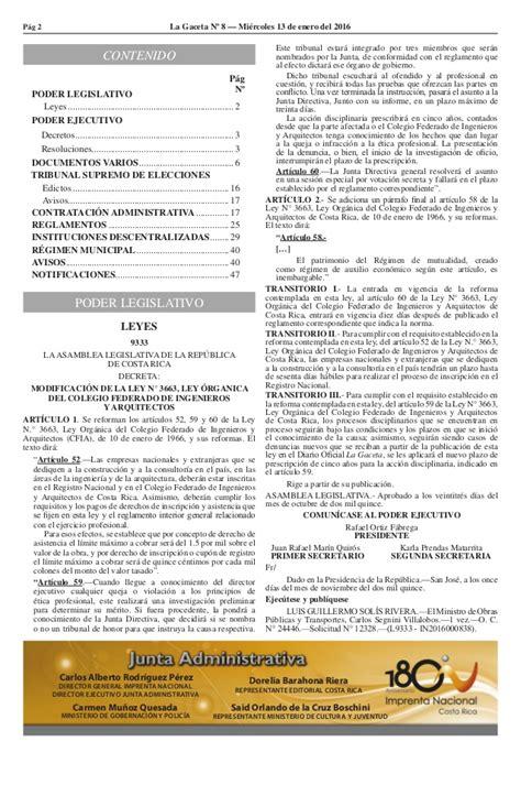 la gaceta costa rica 2016 gaceta n 8 de fecha 13 01 2016 publicacion semana salud