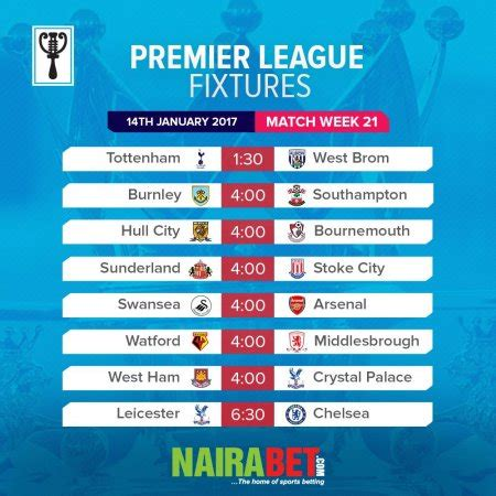 epl week 21 sports epl week 21 fixtures nigerian bulletin