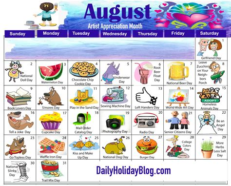 unique holidays august calendar
