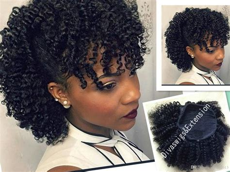 clip on braided pony tails for afro american woman afro kinky curly human hair drawstring ponytail for girl