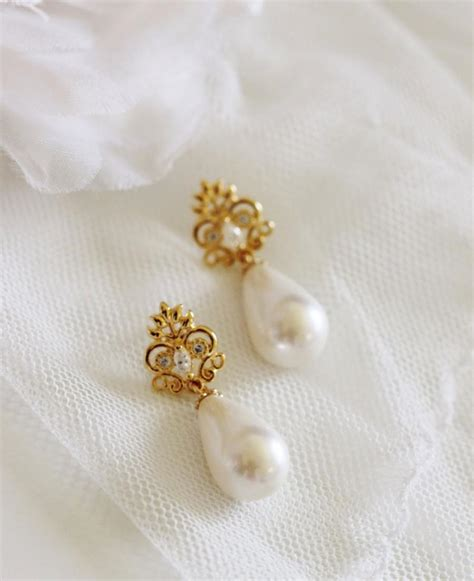 Vintage Style Bridal Pearl Earrings Pearl Earrings Wedding by Gold Bridal Earrings Pearl Earrings Bridal Jewelry Vintage