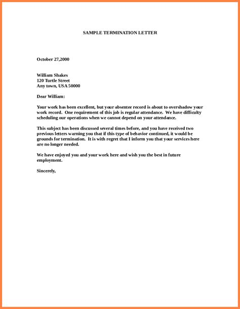 letter of termination template 11 employment termination notice sle notice letter