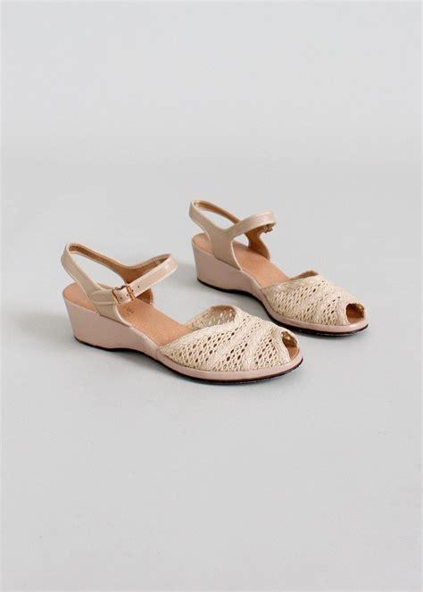 vintage 1950s summer peep toe wedge sandals size 7