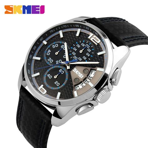 Skmei Casual Leather Water Resistant 30m 1 jam tangan pria skmei casual leather water