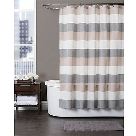 grey and tan shower curtain baltic linen yarn dyed strata striped shower curtain bed