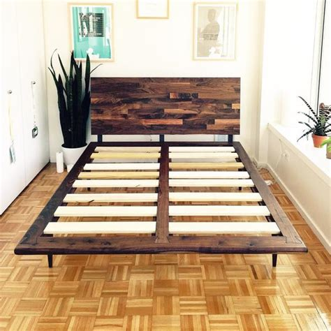mid century solid walnut platform bed jeremiahcollection