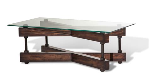wood base glass top coffee table killington rustic modern coffee table w glass top