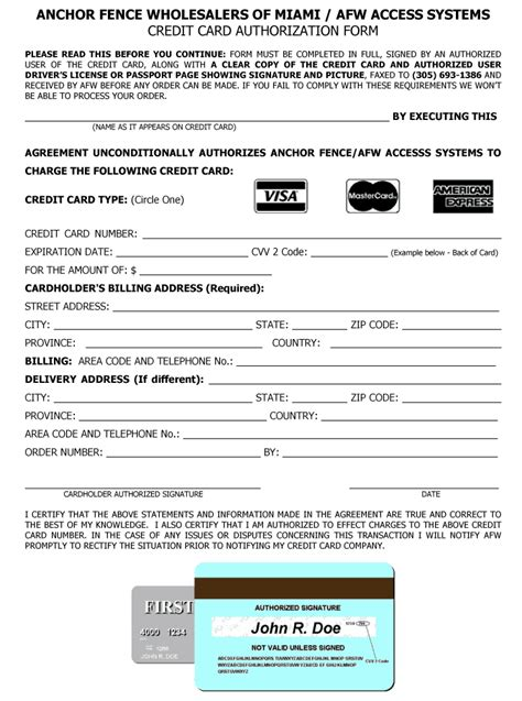 Sle Credit Card Authorization Form Doc New Page Www Anchormiami