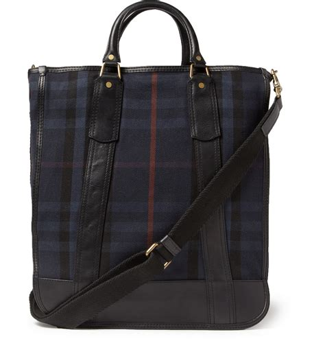 Plaid Bag burberry leathertrimmed plaid tote bag in blue for lyst
