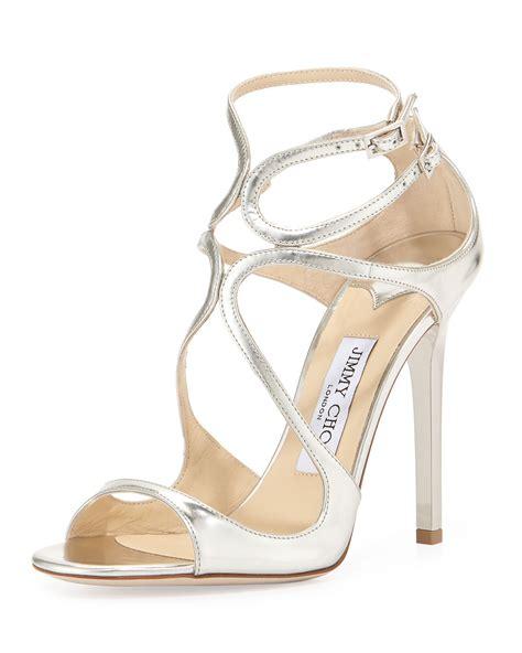 jimmy choo silver sandals jimmy choo lance metallic strappy sandal silver in silver