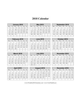 printable calendar 2018 one page printable 2018 calendar on one page vertical week starts