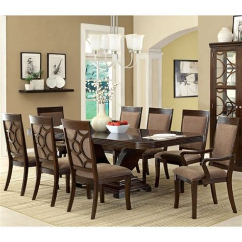 woodmont solid wood walnut finish formal 9 piece dining