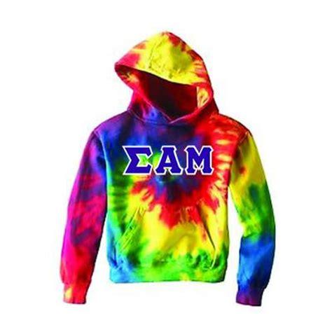 fraternity tie dye hooded twill sweatshirt clothing