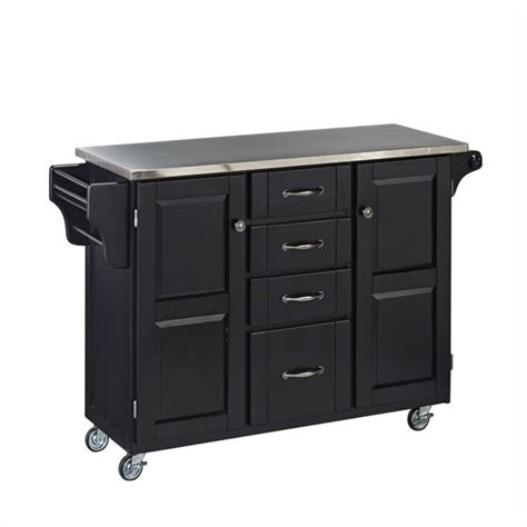 Kitchen Island Cart With Stainless Steel Top Hawthorne Collections Stainless Steel Top Kitchen Island Cart In Black Hc 55166
