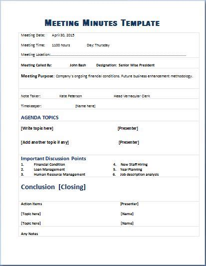 minutes of meeting template formal meeting minutes template word excel templates