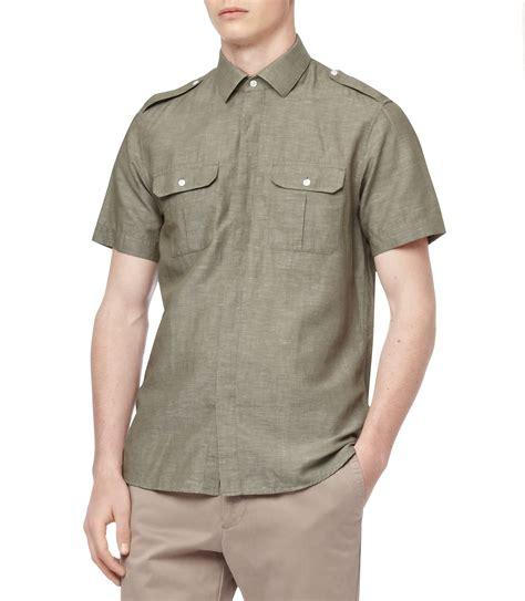White Zipper Pocket Shirt 2 reiss sleeve two pocket safari shirt in green for lyst