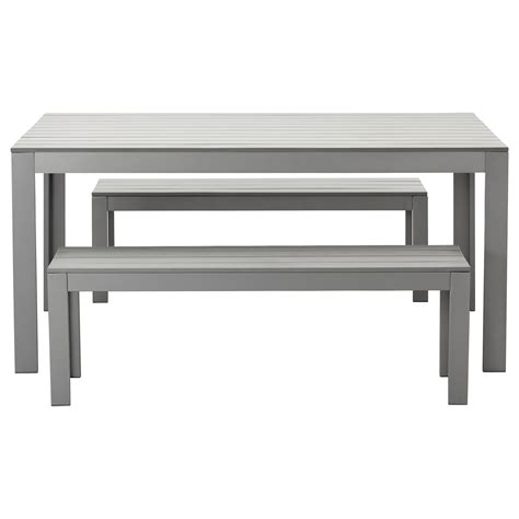 outdoor table with bench falster table 2 benches outdoor grey ikea