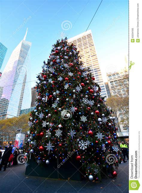bryant park christmas tree editorial stock photo image of