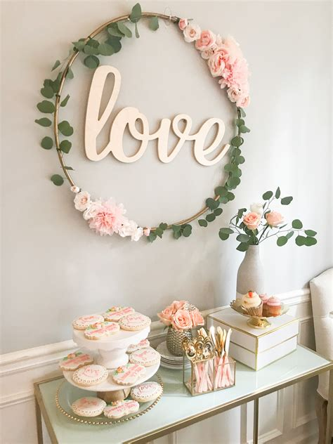 diy bridal shower centerpiece ideas diy hula hoop sign blush and gold bridal shower decor
