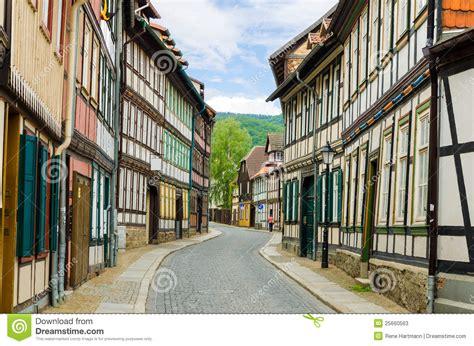 beautiful historical german street stock  image