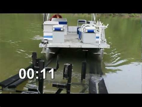 tritoon boat trailer loading guides pontoon loader guide rails youtube