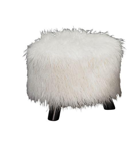 flokati white fuzzy foot stool ottoman
