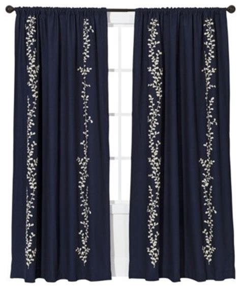 cream and navy curtains threshold embroidered vine light block window panel navy