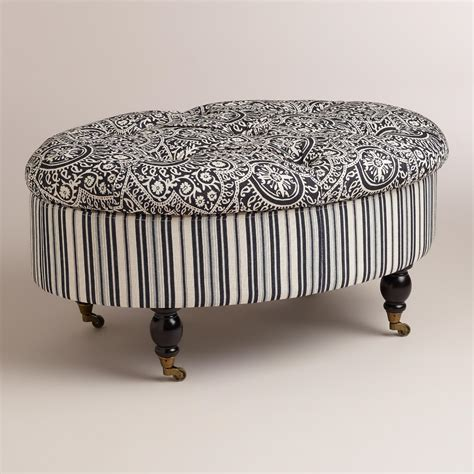 black and white ottoman oval black and white lucille ottoman world market