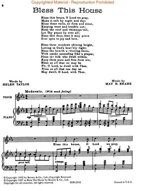 bless this house music bless this house sheet music by may h brahe sku hl 48005535 sheet music plus
