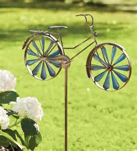 metal bicycle wind spinner garden stake wind spinners