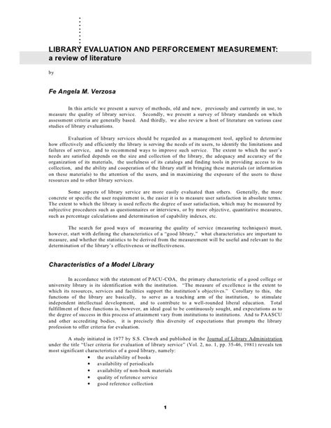 Library Literature Review by Library Evaluation And Performance Measurement Review Of Literature