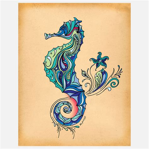 seahorse tattoos 60 sea creature sea designs and pictures