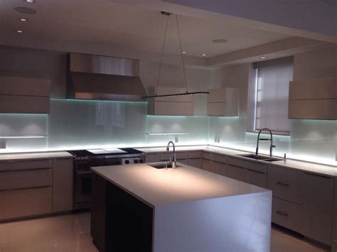 led backsplash glass kitchen backsplash w led lighting modern kitchen montreal by vitrerie des experts