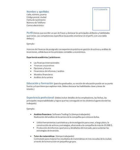 Modelo De Curriculum Vitae Para Trabajo En Banco Curriculum Vitae Definanzas