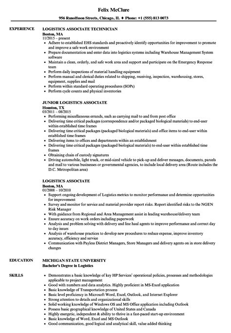 Logistics Associate Sle Resume by Logistics Associate Resume Sles Velvet