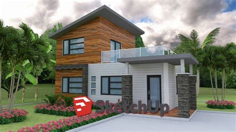 sketchup model house  drawing  photo layout plan