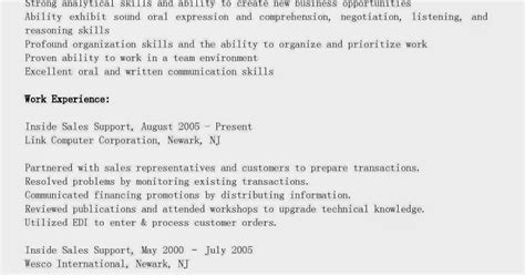 Inside Sales Support Sle Resume by Resume Sles Inside Sales Support Resume Sle