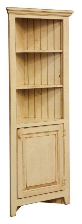 Small Amish Corner Hutch Cabinet in Pine Wood