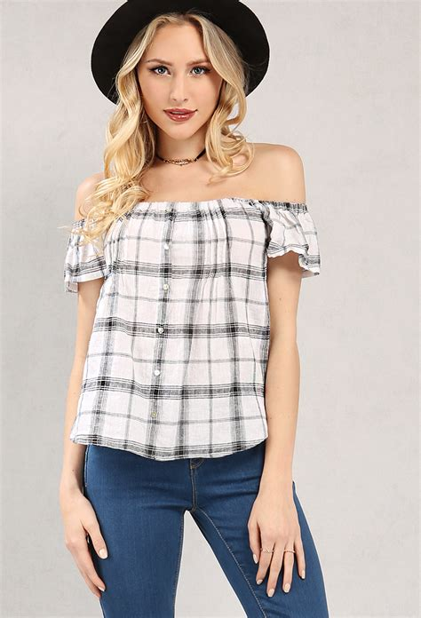 Flannel Plaid The Shoulder Top plaid flannel button detail the shoulder top shop