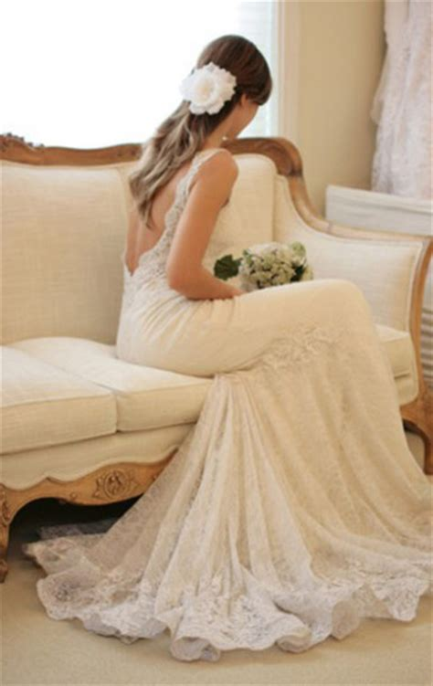 Dress: lace dress, wedding dress, low cut back, low back