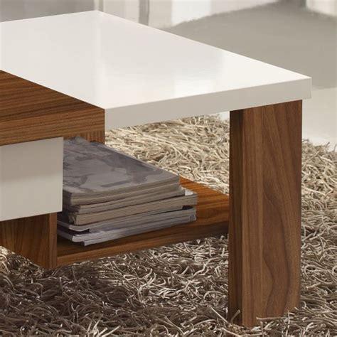 table blanc et bois table basse bois noyer et blanc