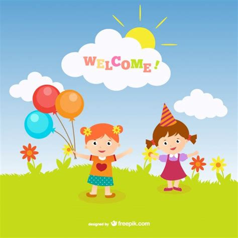 welcome greeting card vector free download