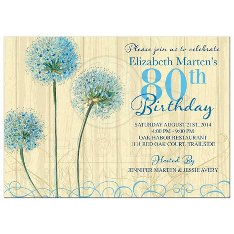 Lemon Kitchen Decor by 80th Birthday Invitation Vintage Blue Cream Floral
