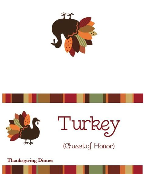 printable turkey place cards 8 best images of round menu card printable blank templates