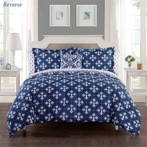 indigo comforter set batik indigo blue medallion reversible 8 pc comforter bed set
