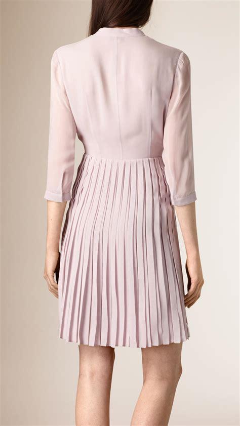 Silk Pink Dress burberry pleated silk dress in pink lyst