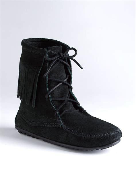 minnetonka boots for minnetonka trer moccasin ankle boots in black black