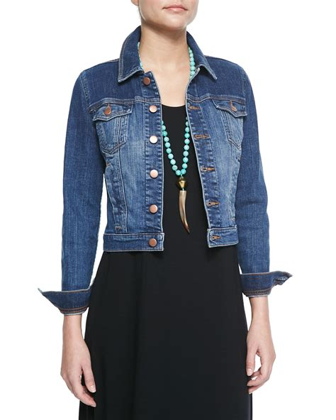 Cropped Jacket eileen fisher denim cropped jacket floor length jersey
